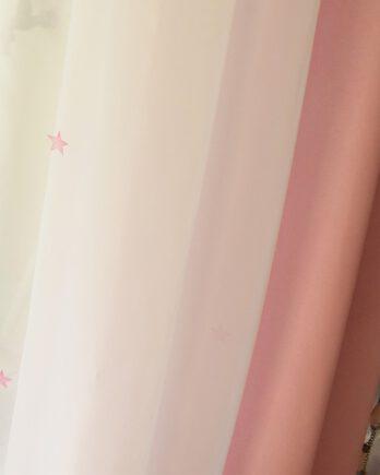 Cortinas de Blackout Rosa + Voiles Estampado