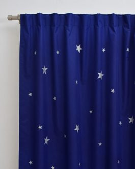 Cortinas Black Out Infantil Con Estrellas Plateadas Cubre 100×100 la luz