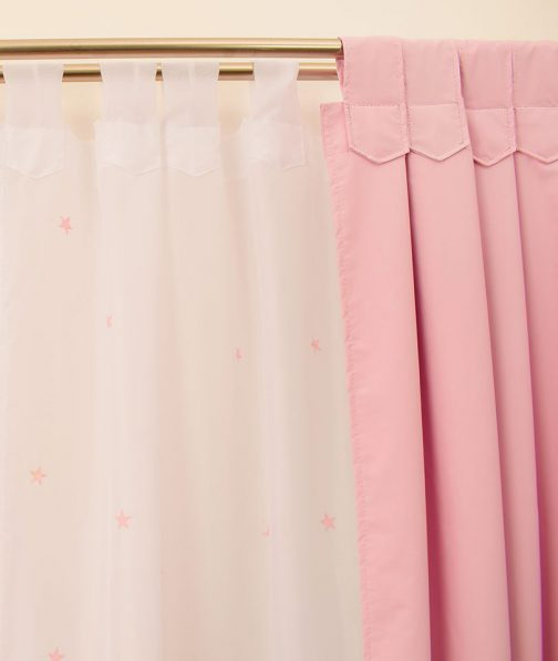 cortinas black out rosa pastel voile