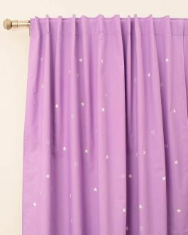 Cortinas Black Out Lila Con Estrellas